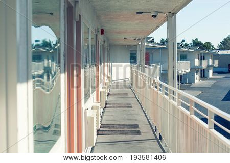 Perspective Of The Modern Glass And Steel Balcony, Deck, Patio, Promenade Railing. Exterior