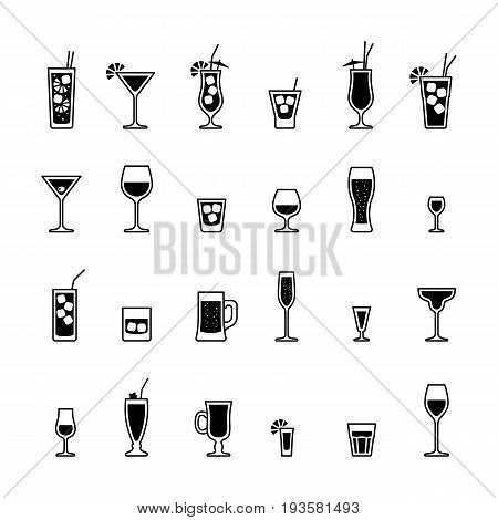 Alcoholic drinks and cocktails black and whiteicons set. Vector illustration