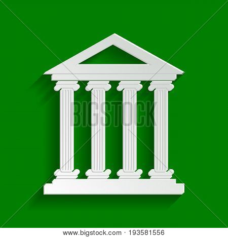 Historical building illustration. Vector. Paper whitish icon with soft shadow on green background.