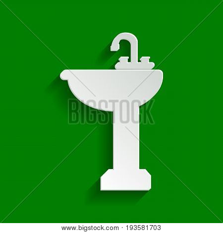 Bathroom sink sign. Vector. Paper whitish icon with soft shadow on green background.