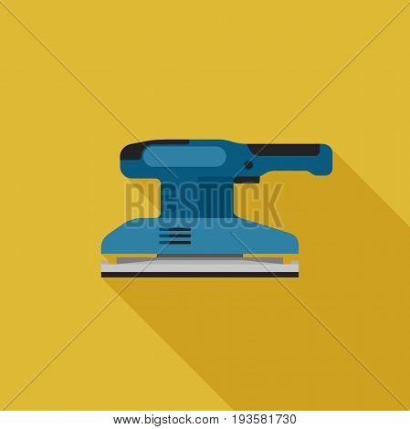 Sander flat icon with long shadow. Vector illustration of electric tool.