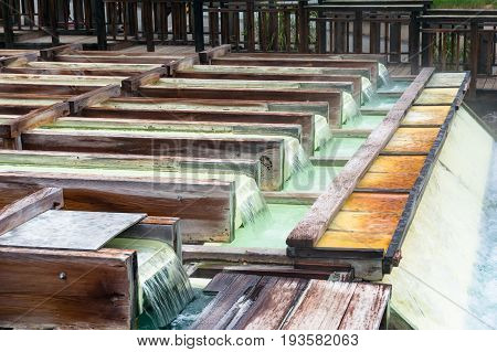 Yubatake Hot Spring Wooden Boxes With Mineral Water