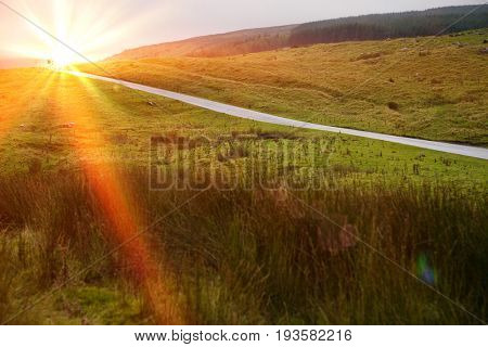 Rural road in Yorkshire Dales, Yorkshire, England