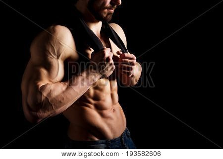 Perfect male six pack abs. Muscular and sexy torso of young man. Hunk with athletic body