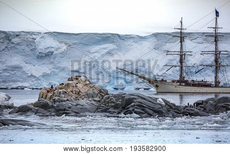 Group of penguins stand on stones in the middle of the water with snow. A large white ship stands behind stones with penguins. A large wall of snow is in the background.