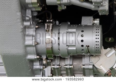 Component of a modern turbofan engine closeup.