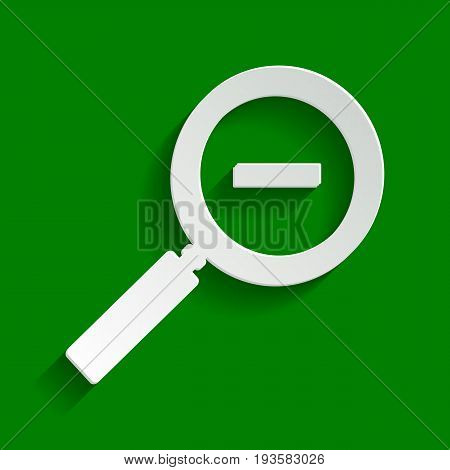 Zoom sign illustration. Vector. Paper whitish icon with soft shadow on green background.
