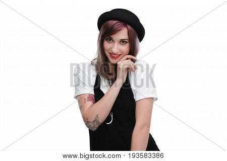 Young Tattooed Shy Girl With Purple Hair Smiling At Camera, Isolated On White