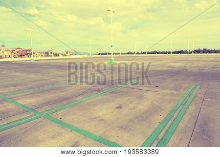 Empty parking lot in super store with filter effect