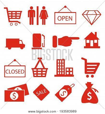 Shopping icons illustration on white background art