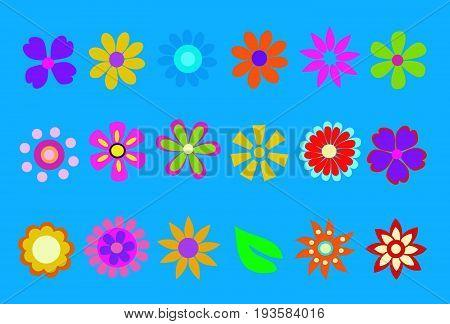 spring flower vector illustration on blue background