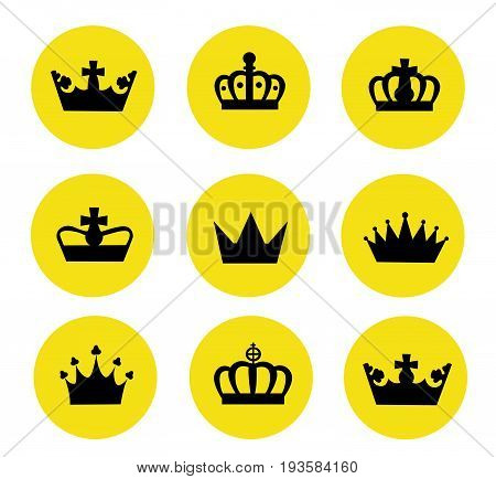 Vector illustration of different crowns on white