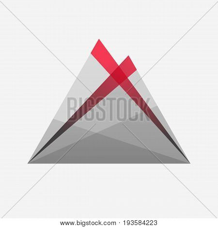 Eruption. Volcano. Lava. Grey red gradient. Icon. Logotype. White background. Illustration. Eps10.