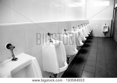 Clean Urinals Men In Toilet