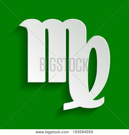 Virgo sign illustration. Vector. Paper whitish icon with soft shadow on green background.
