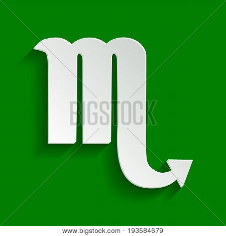 Scorpio sign illustration. Vector. Paper whitish icon with soft shadow on green background.