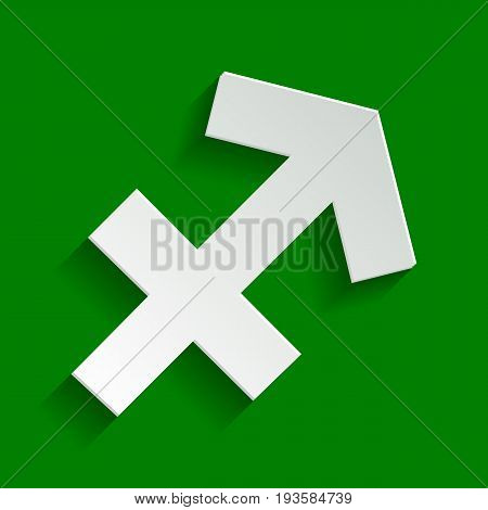 Sagittarius sign illustration. Vector. Paper whitish icon with soft shadow on green background.