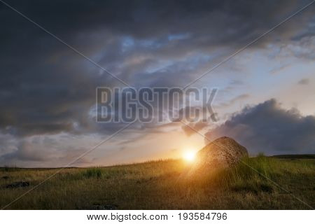 Sunset in the steppe a beautiful evening sky with clouds plato Ukok no one around Altai Siberia Russia