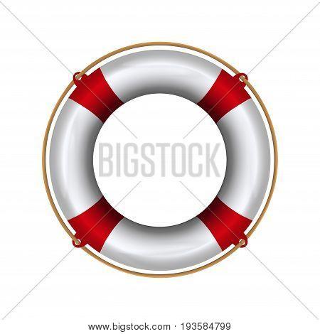 Lifebuoy with rope. Lifebelt realistic illustration isolated on white background