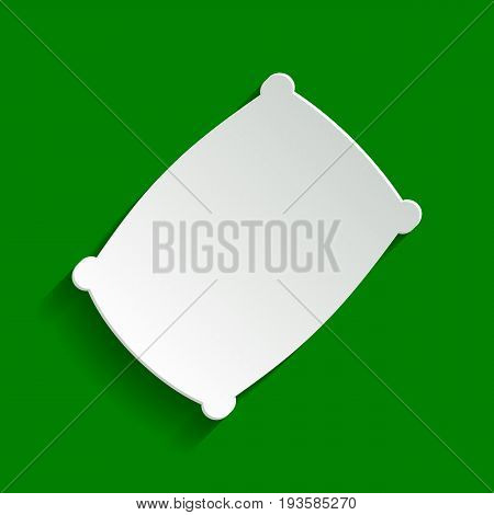 Pillow sign illustration. Vector. Paper whitish icon with soft shadow on green background.