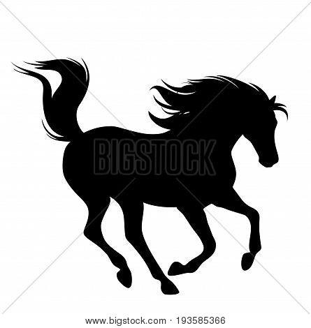 running horse fine black vector silhouette on white