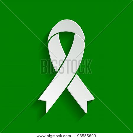 Black awareness ribbon sign. Vector. Paper whitish icon with soft shadow on green background.
