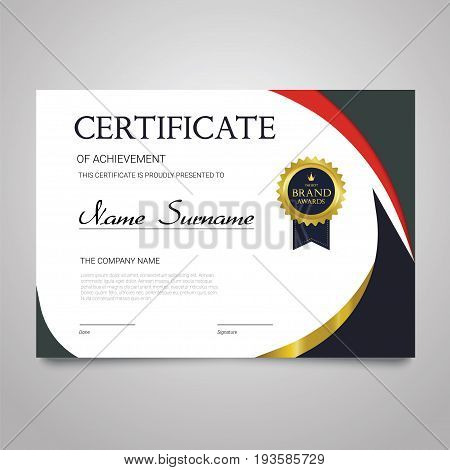Certificate Template - modern horizontal elegant vector document with luxury design. Diploma of achievement, appreciation with copy space for name, surname, company information.