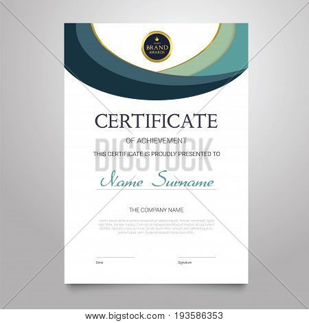Certificate Template - modern vertical elegant vector document with luxury design. Diploma of achievement, appreciation with copy space for name, surname, company information.