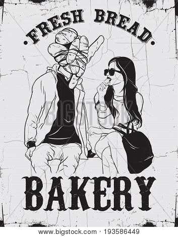 Bakery. Fresh bread. Vector hand drawn poster with illustration of young woman with man with bread on his head. Template for card banner print for t-shirt made in realistic style.