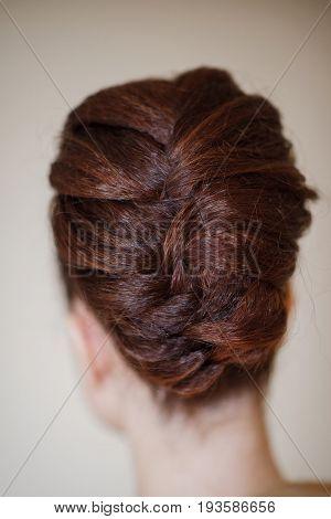 closeup of beautiful and creative wedding hair style