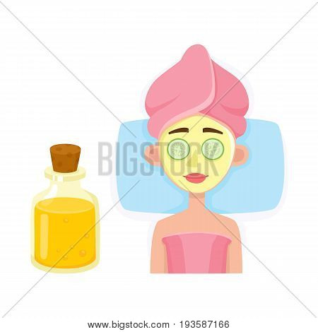 Young woman getting facial mask in spa salon, top view cartoon vector illustration on white background. Top view picture of woman getting facial mask in spa salon, lying with cucumber slices on eyes