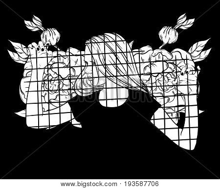 Vector hand drawn illustration of young girl behind bars with flowers. Template for card poster banner print for t-shirt.