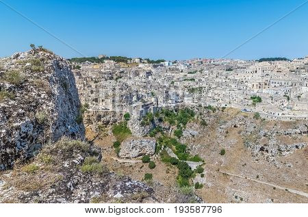 Panoramic View Of Typical Stones House (sassi Di Matera) Of Matera Unesco European Capital Of Cultur