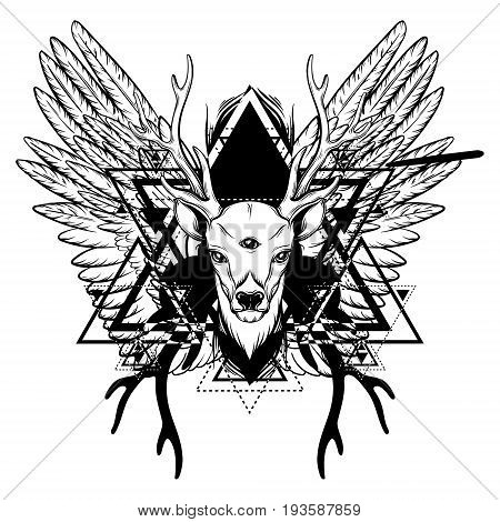 Hand drawn beautiful hand sketched deerwith tree eyes and wings. Alchemy religion spirituality occultism tattoo art coloring books. Template for card poster banner print for t-shirt.