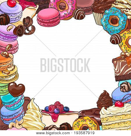 Square frame of desserts and pastries with round place for text, sketch vector illustration isolated on white background. Square banner, postacard, label template with desserts, sweets and pastries