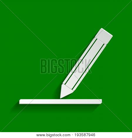 Pencil sign illustration. Vector. Paper whitish icon with soft shadow on green background.