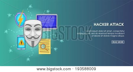 Hacker attack horizontal concept. Cartoon illustration of hacker attack banner horizontal vector for web