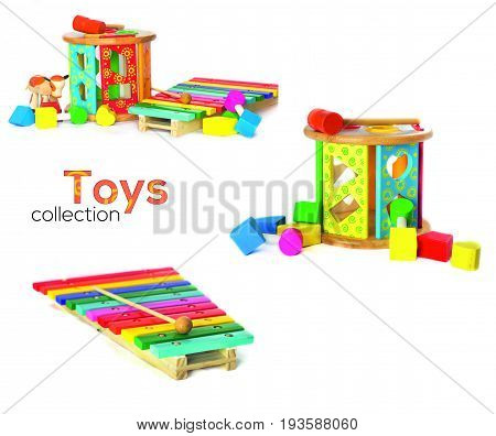 Wodden toys collection. Block Shapes, xylophone and cow isolated on white
