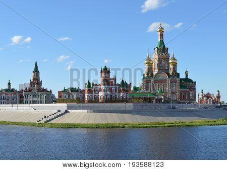 landmark reflection cityscape building evening blue bridge water kremlin night river Yoshkar Ola russia city church architecture