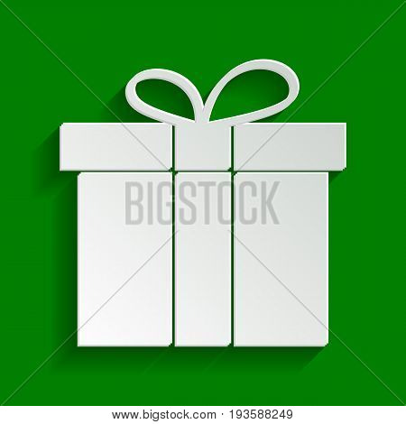 Gift box sign. Vector. Paper whitish icon with soft shadow on green background.