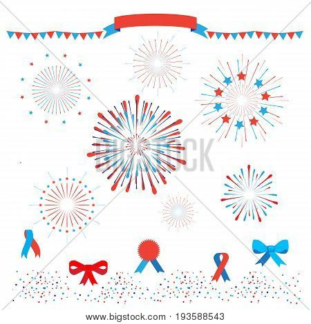 Set of Fireworks, burst stars, confetti, ribbon banner, bow tie, tied ribbon bow icons, garland in national American flag colors. Vector isolated on white background. For celebration American Holiday, Memorial day, Labor Day. Festival decorative frame, el