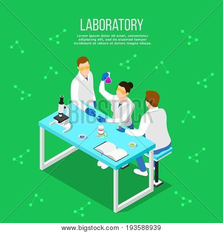 Isometric people doctor composition with human characters of scientists at table with research equipment and molecule silhouettes vector illustration