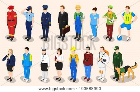 Profession isometric set of sixteen isolated people faceless characters representing different professions in appropriate uniform with shadows vector illustration