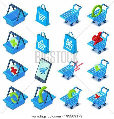 Shopping cart icons set. Isometric illustration of 16 shopping cart vector icons for web