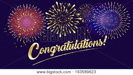 Congratulations! gold text design, gold foil texture. Beautiful Realistic festive patterned firework bursting in various shapes burst sparkles, shiny stars against night background, for National Holiday, Festival, Christmas, Happy New Year celebrate.