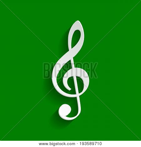 Music violin clef sign. G-clef. Treble clef. Vector. Paper whitish icon with soft shadow on green background.