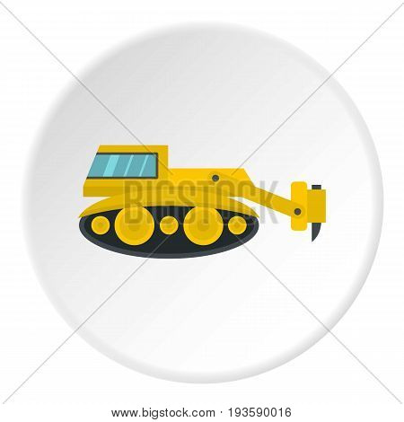 Excavator with hydraulic hammer icon in flat circle isolated vector illustration for web