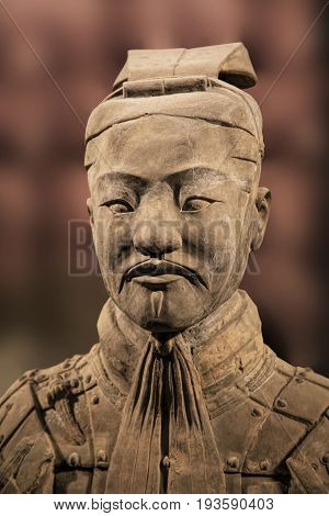 Xian China May 29 2017 The Terracotta Army exhibit on display at the Shaanxi History Museum. Xian. China