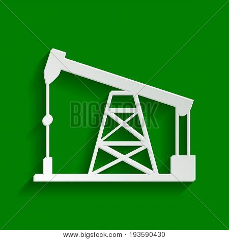 Oil drilling rig sign. Vector. Paper whitish icon with soft shadow on green background.