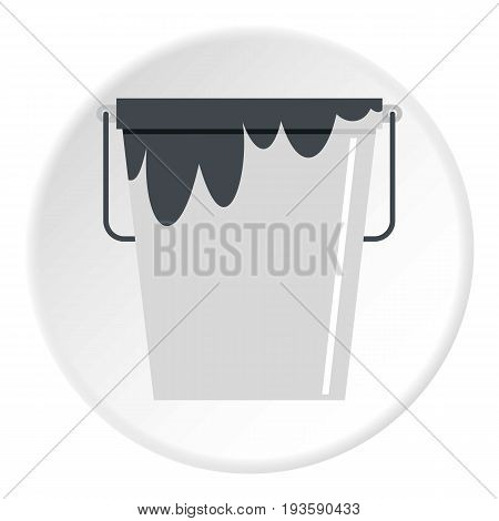 Bitumen emulsion in grey bucket icon in flat circle isolated vector illustration for web